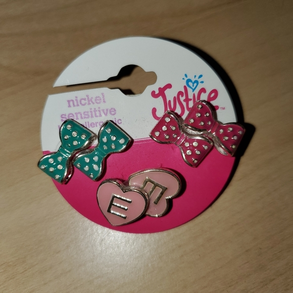 Justice Earrings set of 3 with E initial in a set